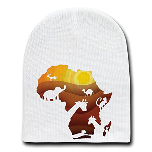 'African Animals' Sahara Bush Wildlife - White Beanie Skull Cap Hat