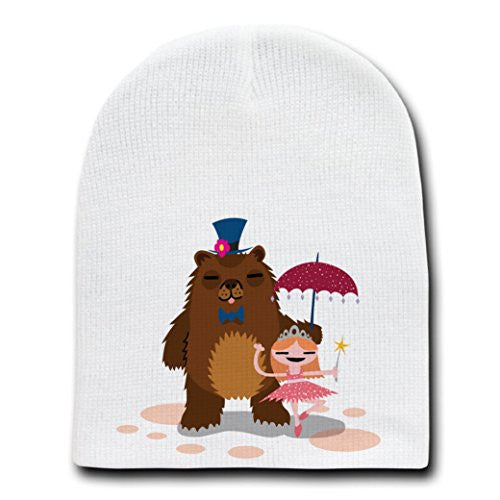 'Bear & Ballerina' Funny Dancing Couple - White Beanie Skull Cap Hat