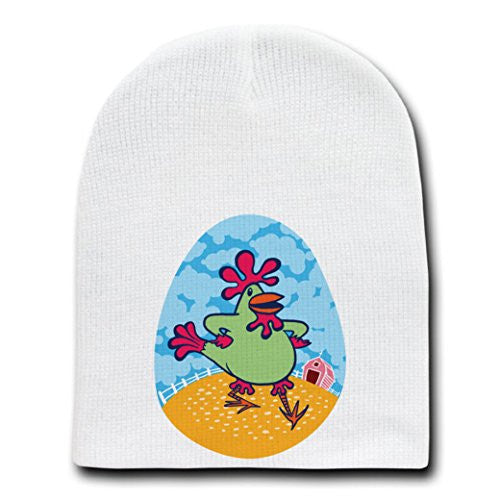 'Funky Dancin' Chicken' Funny Farm Animal - White Beanie Skull Cap Hat