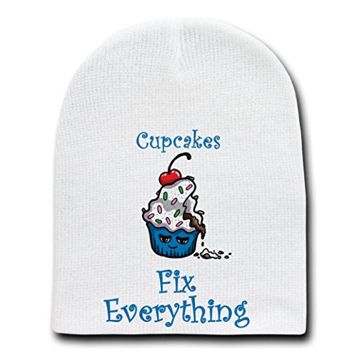 'Cupcakes Fix Everything' Food Humor Cartoon - White Beanie Skull Cap Hat