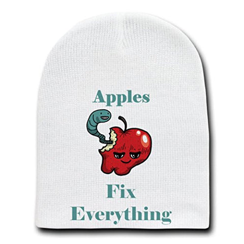 'Apples Fix Everything' Food Humor Cartoon - White Beanie Skull Cap Hat
