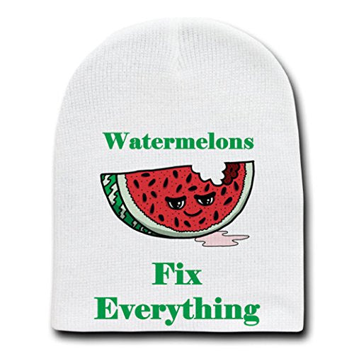 'Watermelons Fix Everything' Food Humor Cartoon - White Beanie Skull Cap Hat