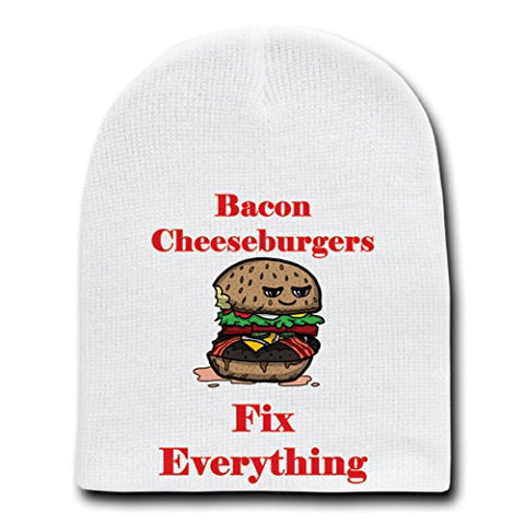 'Bacon Cheeseburgers Fix Everything' Food Humor Cartoon - White Beanie Skull Cap Hat