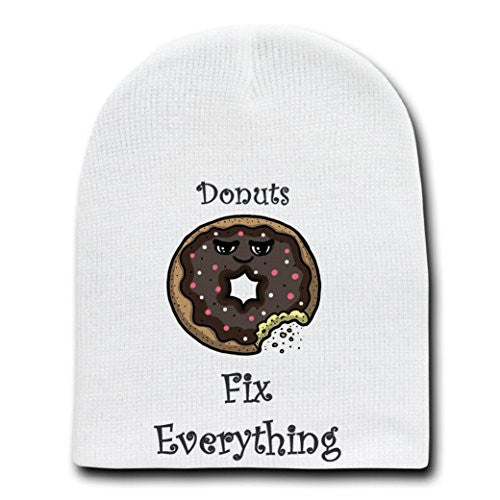 'Donuts Fix Everything' Food Humor Cartoon - White Beanie Skull Cap Hat