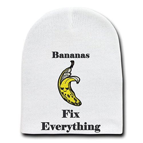 'Bananas Fix Everything' Food Humor Cartoon - White Beanie Skull Cap Hat