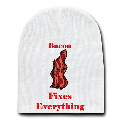 'Bacon Fixes Everything' Food Humor Cartoon - White Beanie Skull Cap Hat