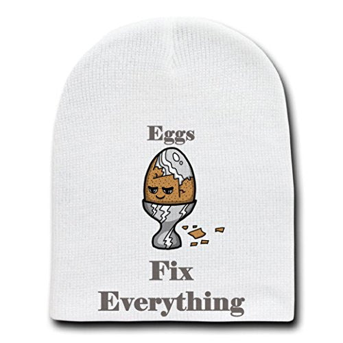 'Eggs Fix Everything' Food Humor Cartoon - White Beanie Skull Cap Hat