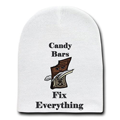 'Candy Bars Fix Everything' Food Humor Cartoon - White Beanie Skull Cap Hat