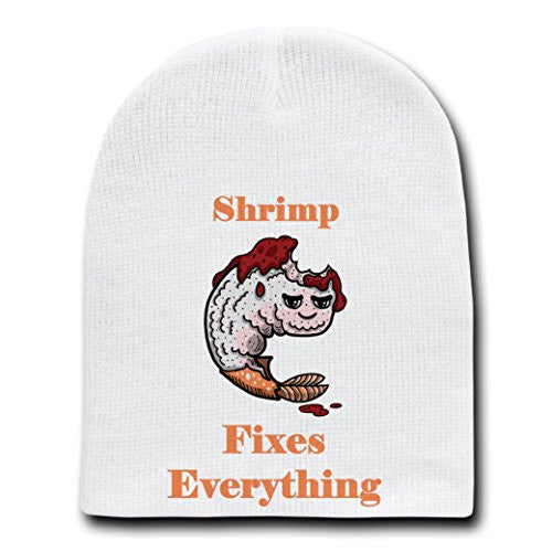 'Shrimp Fixes Everything' Food Humor Cartoon - White Beanie Skull Cap Hat