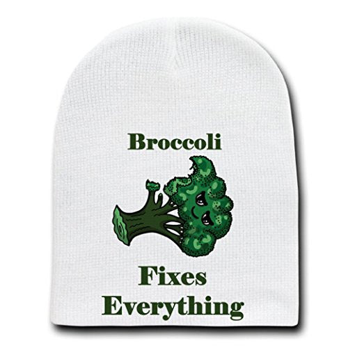 'Broccoli Fixes Everything' Food Humor Cartoon - White Beanie Skull Cap Hat