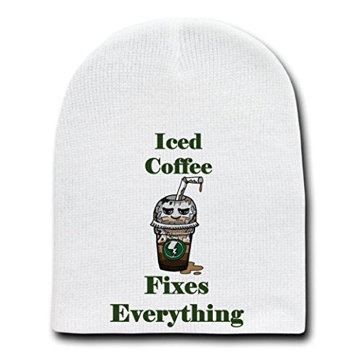 'Iced Coffee Fixes Everything' Food Humor Cartoon - White Beanie Skull Cap Hat