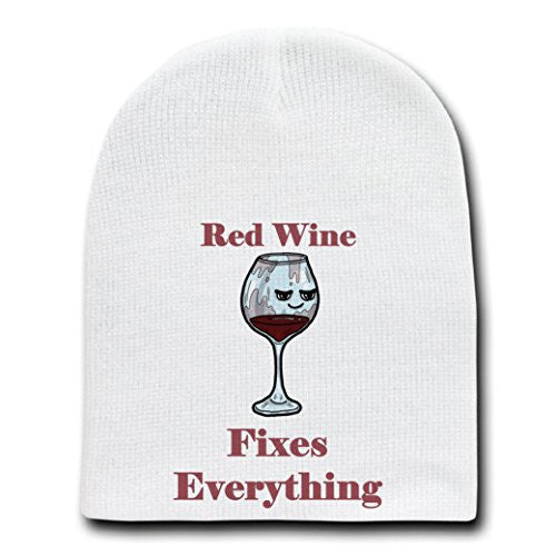 'Red Wine Fixes Everything' Food Humor Cartoon - White Beanie Skull Cap Hat