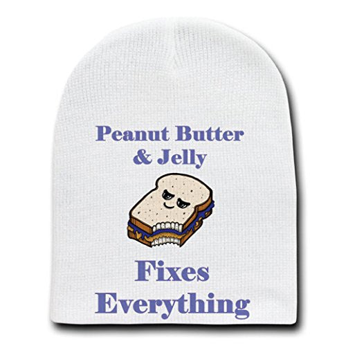 'Peanut Butter & Jelly Fixes Everything'Cartoon-White Beanie Skull Cap/Hat