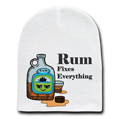 'Rum Fixes Everything' Food Humor Cartoon - White Beanie Skull Cap Hat