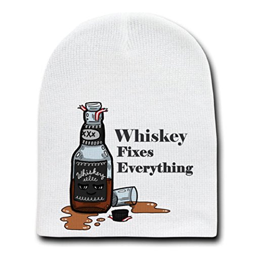 'Whiskey Fixes Everything' Food Humor Cartoon - White Beanie Skull Cap Hat