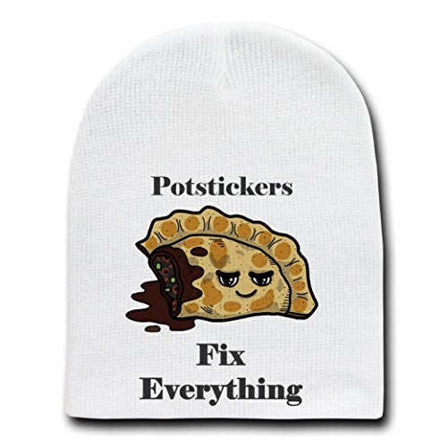 'Potstickers Fix Everything' Food Humor Cartoon - White Beanie Skull Cap Hat
