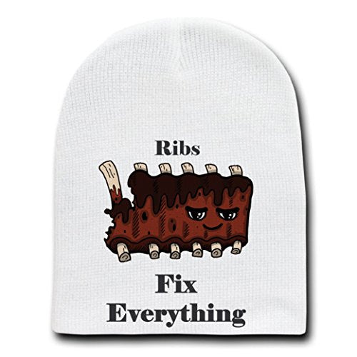 'Ribs Fix Everything' Food Humor Cartoon - White Beanie Skull Cap Hat