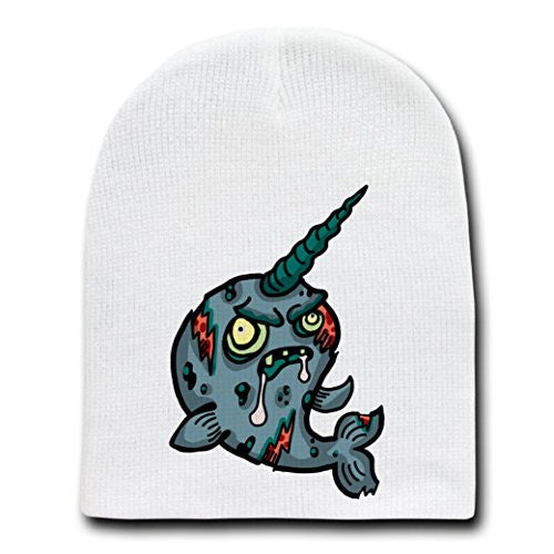 'Zombie Narwhal' Funny Animal Zombie Cartoon - White Beanie Skull Cap Hat