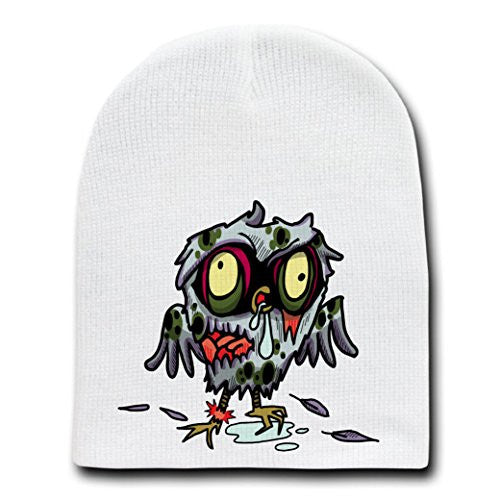 'Zombie Owl' Funny Animal Zombie Cartoon - White Beanie Skull Cap Hat