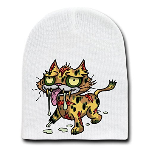 'Zombie Cat' Funny Animal Zombie Cartoon - White Beanie Skull Cap Hat