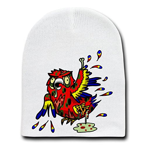 'Zombie Parrot' Funny Animal Zombie Cartoon - White Beanie Skull Cap Hat