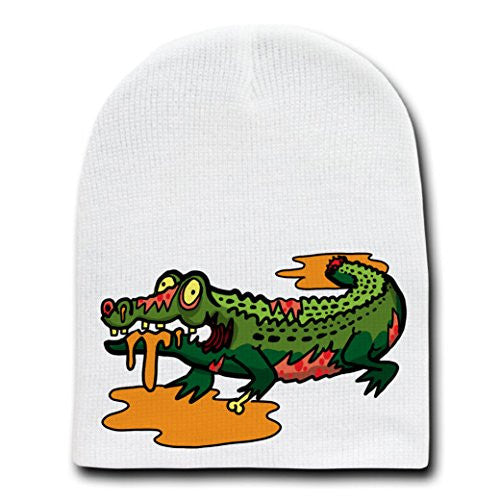 'Zombie Alligator' Funny Animal Zombie Cartoon - White Beanie Skull Cap Hat