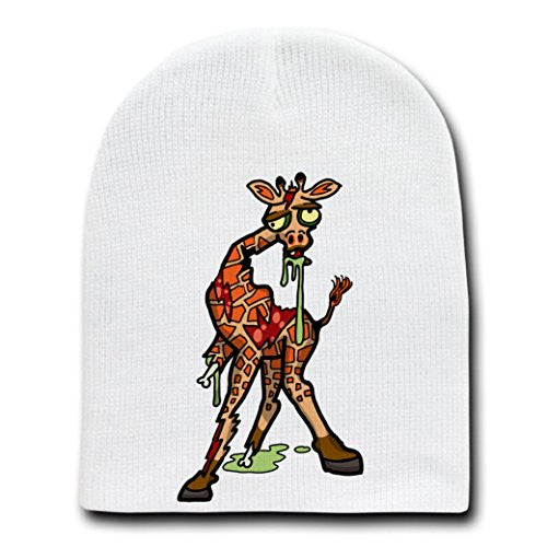 'Zombie Giraffe' Funny Animal Zombie Cartoon - White Beanie Skull Cap Hat