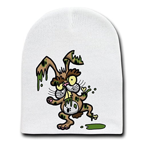 'Zombie Bunny' Funny Rabbit Animal Zombie Cartoon - White Beanie Skull Cap Hat