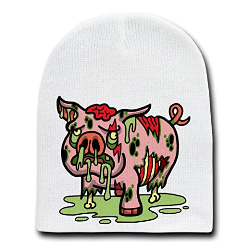 'Zombie Pig' Funny Animal Zombie Cartoon - White Beanie Skull Cap Hat