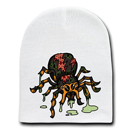 'Zombie Spider' Funny Animal Zombie Cartoon - White Beanie Skull Cap Hat