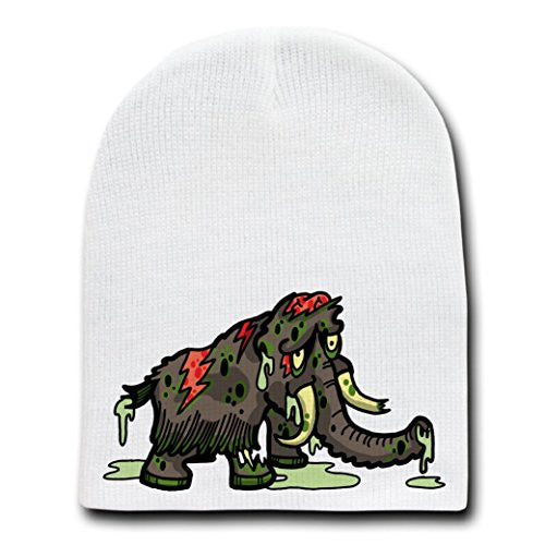 'Zombie Wooly Mammoth' Funny Animal Zombie Cartoon - White Beanie Skull Cap Hat