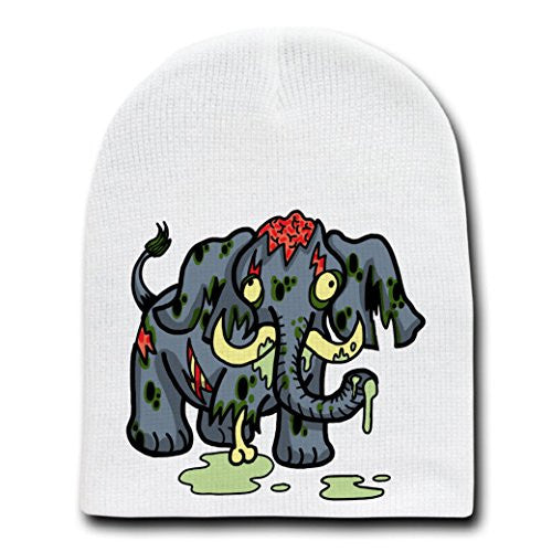'Zombie Elephant' Funny Animal Zombie Cartoon - White Beanie Skull Cap Hat