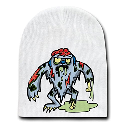 'Zombie Yeti' Funny Animal Zombie Cartoon - White Beanie Skull Cap Hat