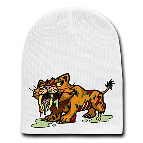 'Zombie Sabertooth Tiger' Funny Animal Zombie Cartoon - White Beanie Skull Cap Hat