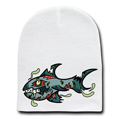'Zombie Shark' Funny Animal Zombie Cartoon - White Beanie Skull Cap Hat