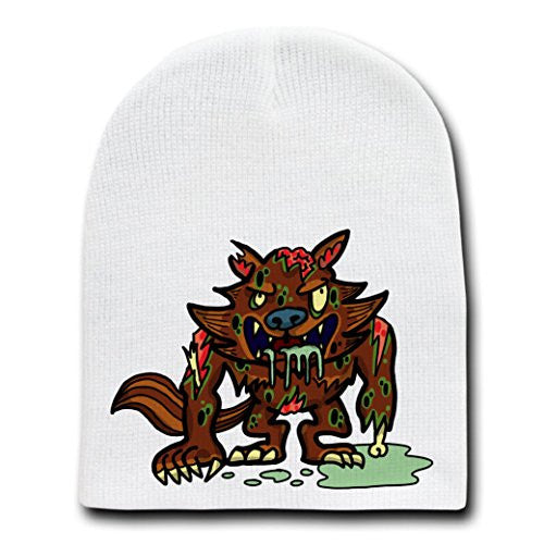 'Zombie Werewolf' Funny Animal Zombie Cartoon - White Beanie Skull Cap Hat