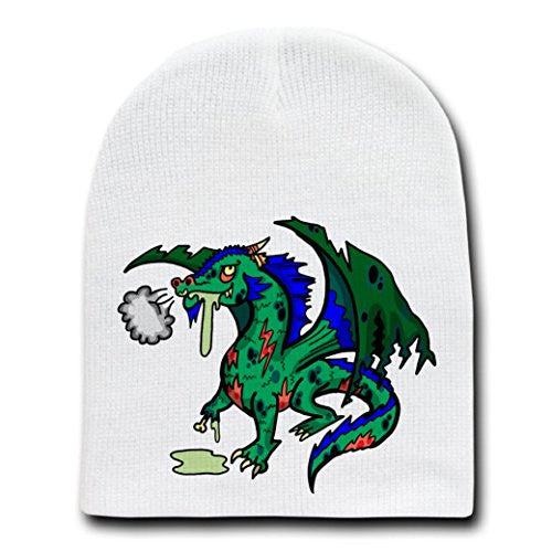 'Zombie Dragon' Funny Animal Zombie Cartoon - White Beanie Skull Cap Hat