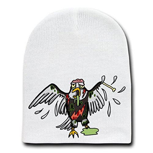 'Zombie Eagle' Funny Animal Zombie Cartoon - White Beanie Skull Cap Hat