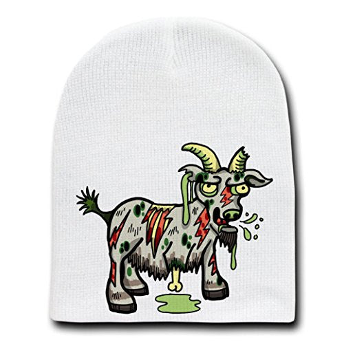 'Zombie Goat' Funny Animal Zombie Cartoon - White Beanie Skull Cap Hat