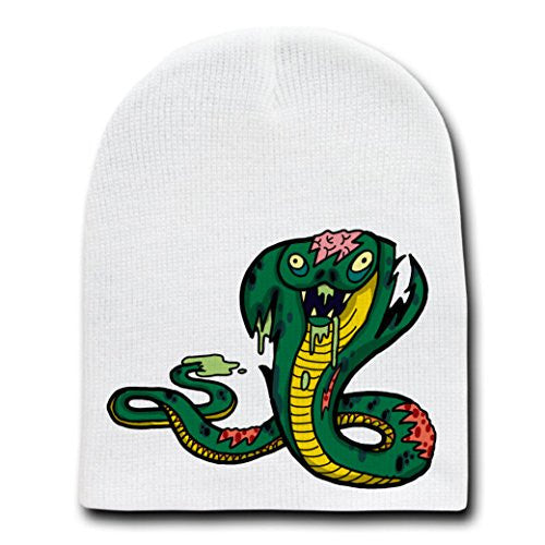 'Zombie King Cobra Snake' Funny Animal Zombie Cartoon - White Beanie Skull Cap Hat