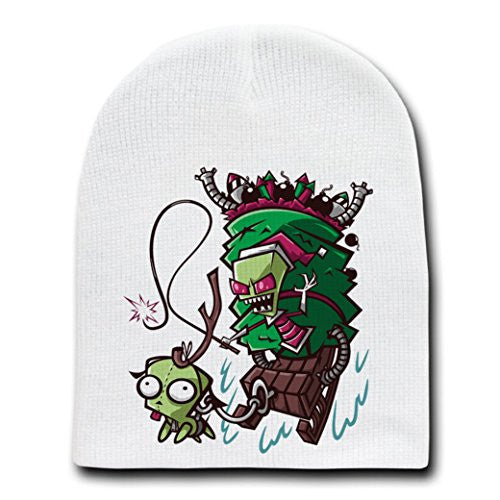 'Zim Stole Christmas' Cartoon Parody - White Adult Beanie Skull Cap Hat