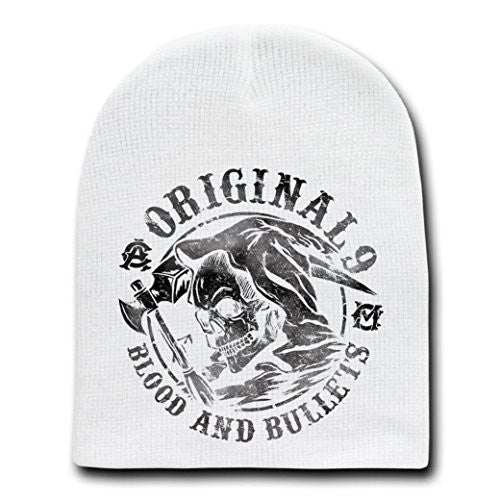 'Blood & Bullets' TV Show Parody - White Adult Beanie Skull Cap Hat