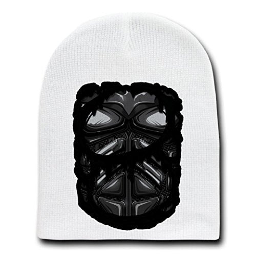 'Super Hero Chest' Comic Movie Parody - White Adult Beanie Skull Cap Hat