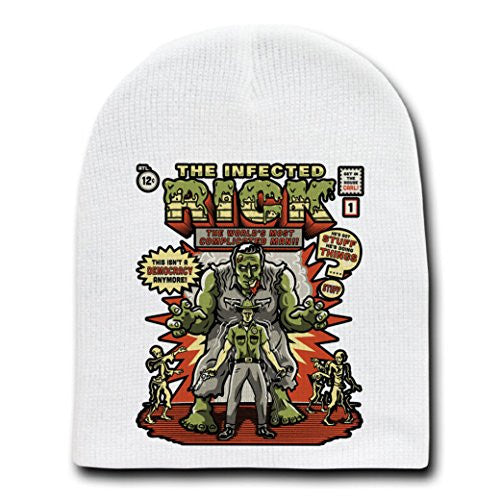 'The Infected Rick' TV Show Parody - White Adult Beanie Skull Cap Hat