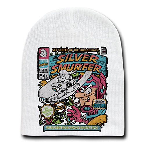 'Silver Smurfer' Cartoon Parody - White Adult Beanie Skull Cap Hat