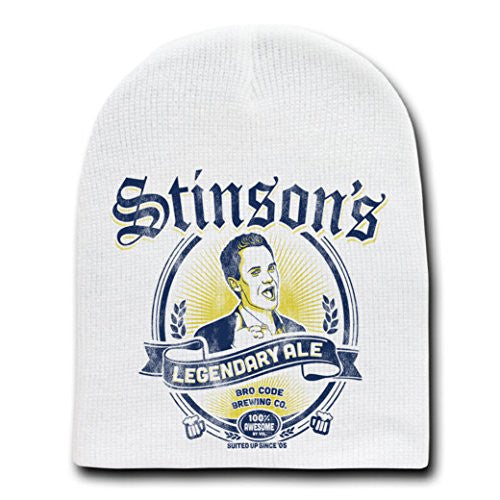 'Stinson's Legendary Ale' TV Show Parody - White Adult Beanie Skull Cap Hat