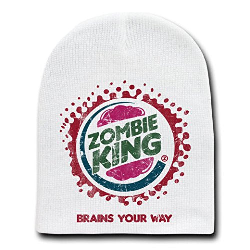 'Zombie King' TV Show Parody - White Adult Beanie Skull Cap Hat