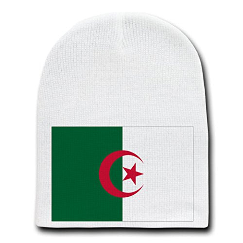 Algeria - World Country National Flags - White Beanie Skull Cap Hat