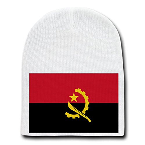 Angola - World Country National Flags - White Beanie Skull Cap Hat