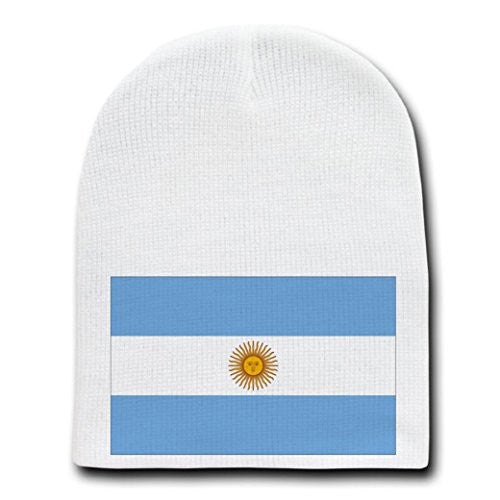 Argentina - World Country National Flags - White Beanie Skull Cap Hat